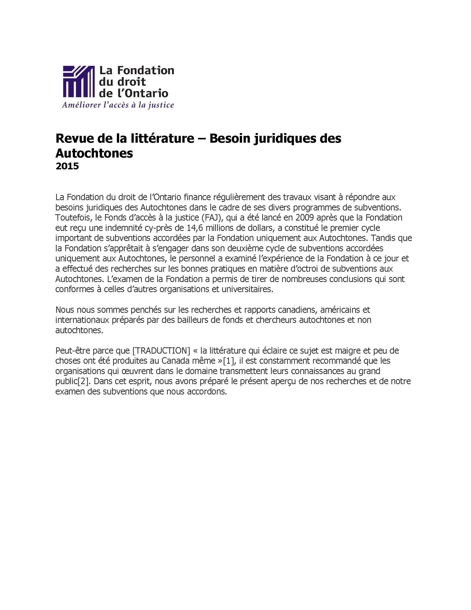 Revue de la littérature – Besoin Juridiques des Autochtones (2015)