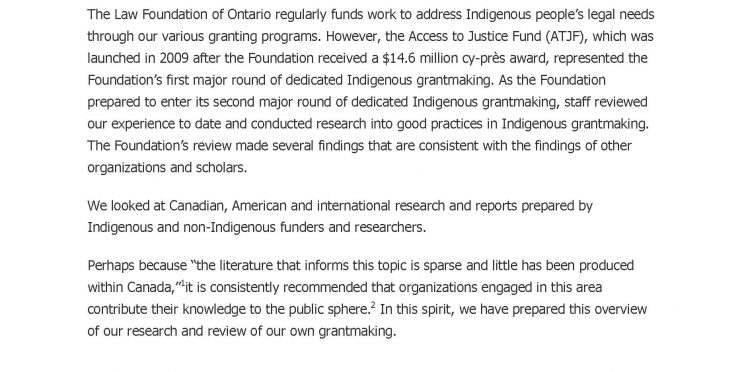 Indigenous people's legal needs literature review