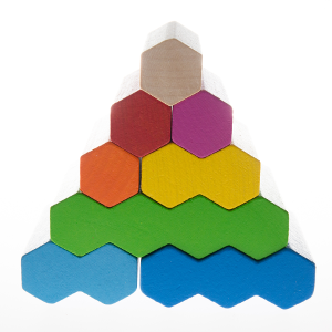 A pyramid made out of colourful, hexagon wooden blocks