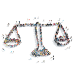 An illustration of a large group of people in the shape of a scales of justice
