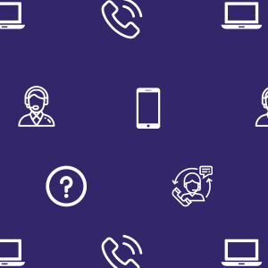 Illustrations of a call-centre operator, phone, question mark on a dark purple background
