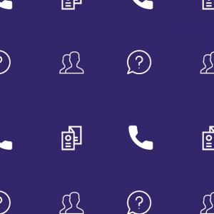 Petites illustrations sur fond violet : une brochure ; un téléphone ; un point d'interrogation dans une bulle de conversation ; 2 personnes