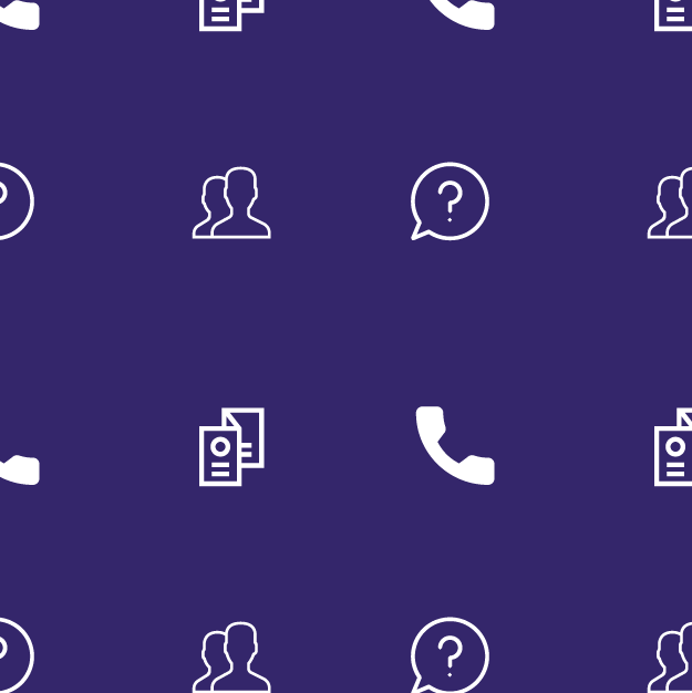 Small illustrations on a purple background: a brochure; telephone; question mark in a talk bubble; 2 people