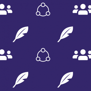 A purple square with little white icons on it. The icons are: a feather; a circle; and 3 people together