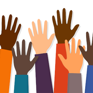 An illustration of 6 arms raised up and the hands are many different colours