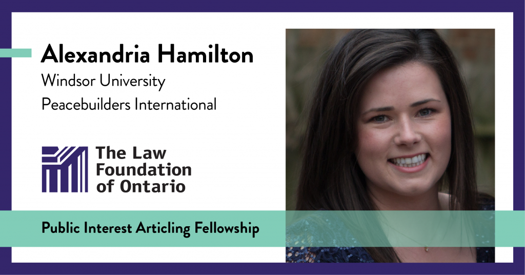 Alexandria Hamilton, Windsor University, Peacebuilders International