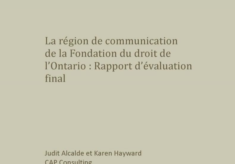 La région de communication : Rapport d'évaluation final