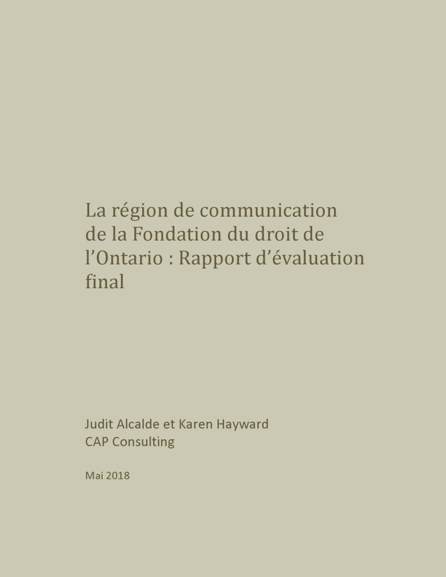 La région de communication : Rapport d'évaluation final (2018)