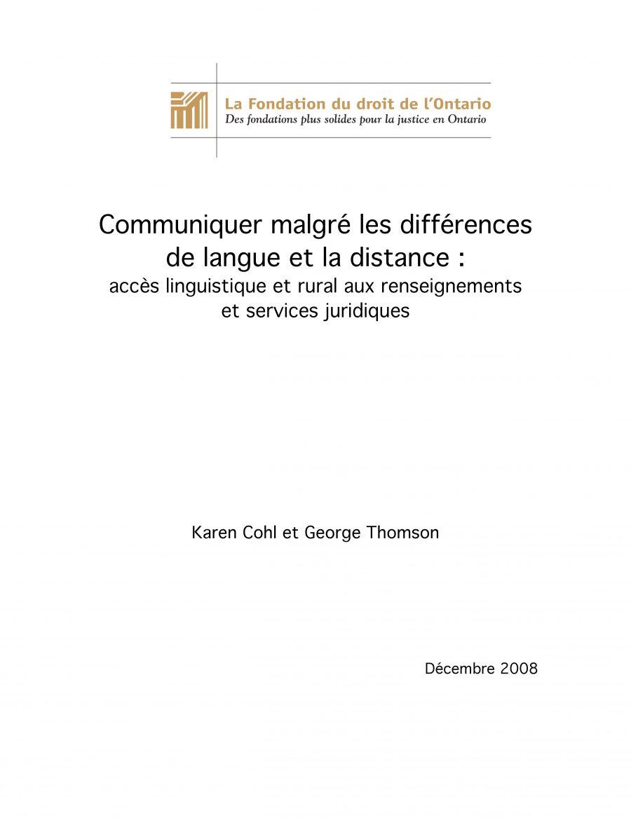 Communiquer malgré les différences la langue et la distance (2008)